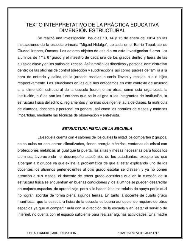 TEXTO INTERPRETATIVO DE LA PRÁCTICA EDUCATIVA DIMENSIÓN ESTRUCTURAL Se realizó una investigación los días 13, 14 y 15 de e...