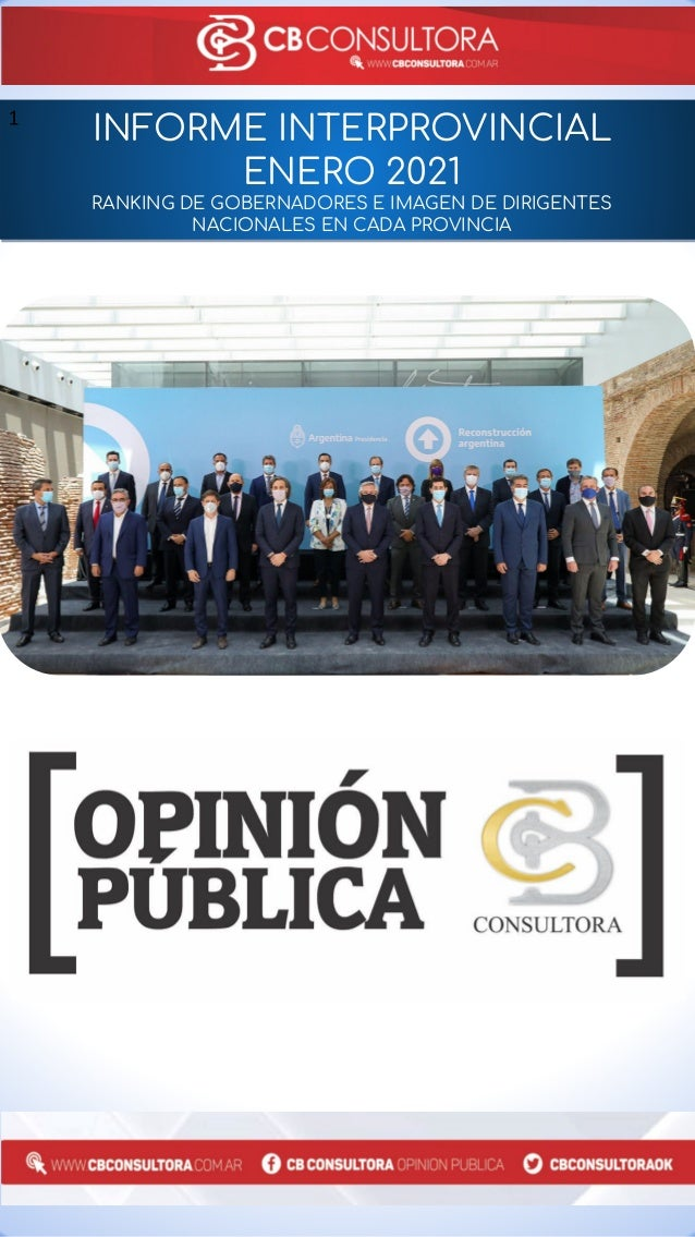 INFORME INTERPROVINCIAL ENERO 2021 RANKING DE GOBERNADORES E IMAGEN DE DIRIGENTES NACIONALES EN CADA PROVINCIA