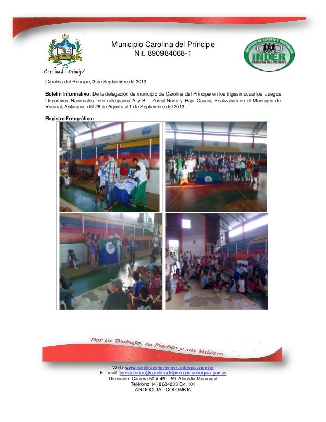 Municipio Carolina del Príncipe Nit. 890984068-1 Web: www.carolinadelprincipe-antioquia.gov.co E – mail: contactenos@carol...