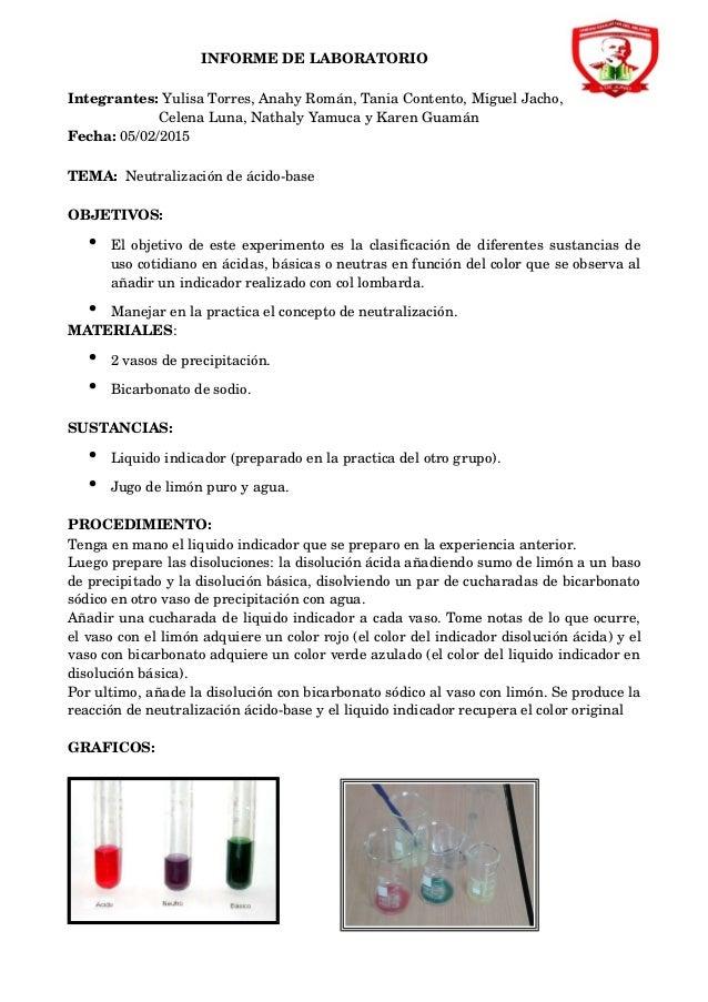 INFORMEDELABORATORIO Integrantes:YulisaTorres,AnahyRomán,TaniaContento,MiguelJacho, Cel...