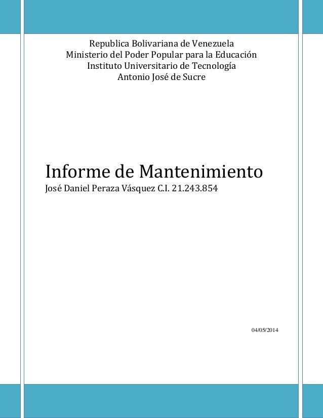 Informe mantenimiento mecanico