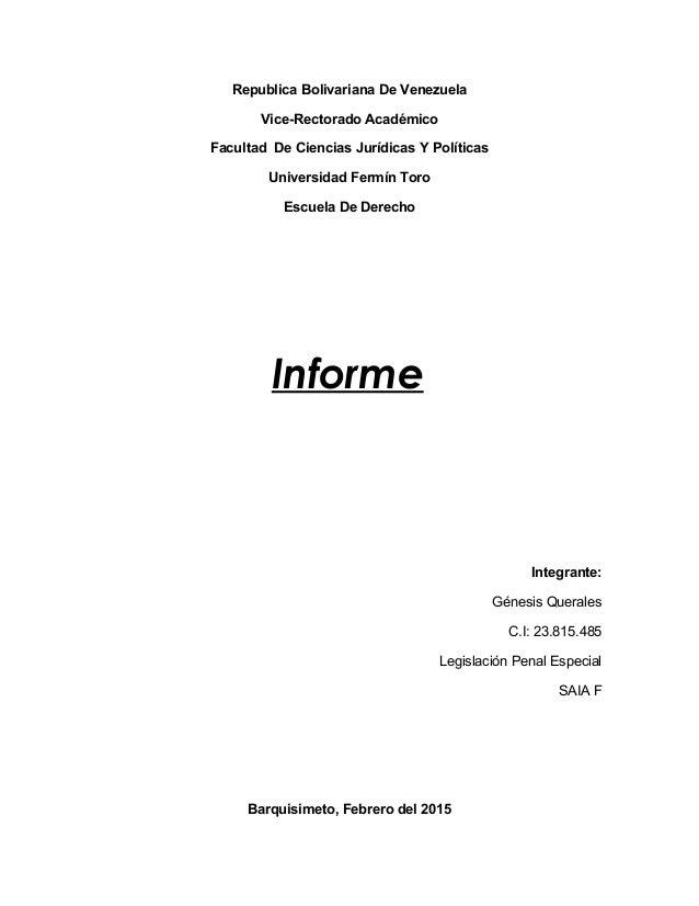 Republica Bolivariana De Venezuela Vice-Rectorado Académico Facultad De Ciencias Jurídicas Y Políticas Universidad Fermín ...