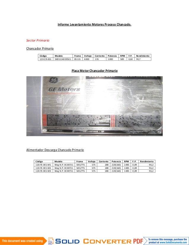 Informe Levantamiento Motores Proceso Chancado.Sector PrimarioChancador Primario         Código       Modelo             F...