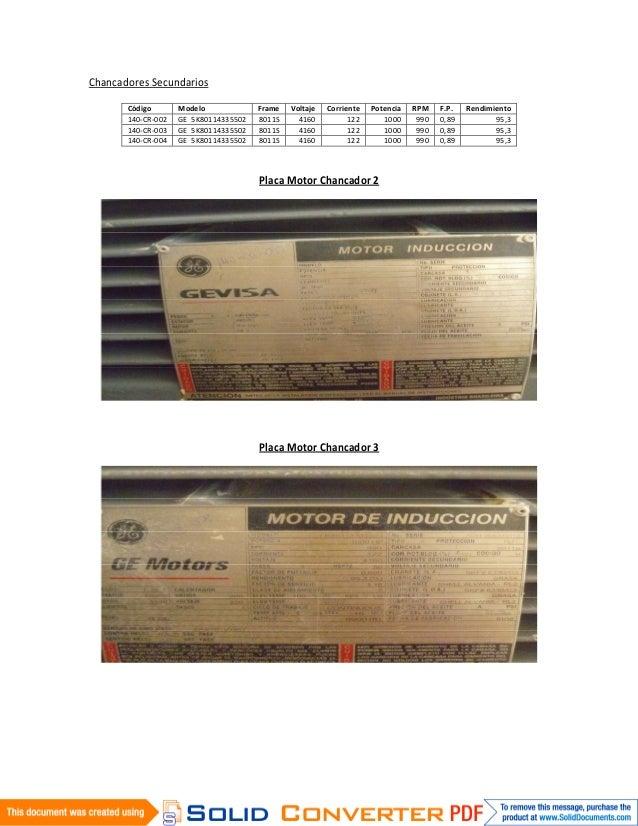 Chancadores Secundarios       Código       Modelo             Frame   Voltaje   Corriente   Potencia   RPM    F.P.   Rendi...
