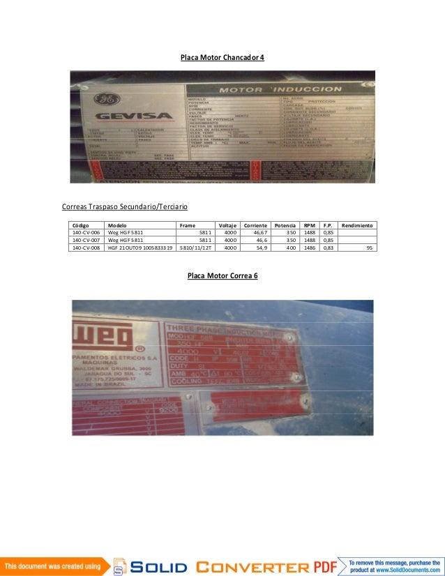 Placa Motor Chancador 4Correas Traspaso Secundario/Terciario   Código       Modelo                   Frame         Voltaje...