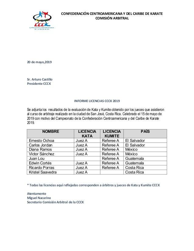 CONFEDERACI�N CENTROAMERICANA Y DEL CARIBE DE KARATE COMISI�N ARBITRAL 20 de mayo,2019 Sr. Arturo Castillo Presidente CCCK...