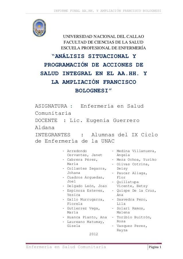 INFORME FINAL AA.HH. Y AMPLIACIÓN FRANCISCO BOLOGNESI              UNIVERSIDAD NACIONAL DEL CALLAO              FACULTAD D...