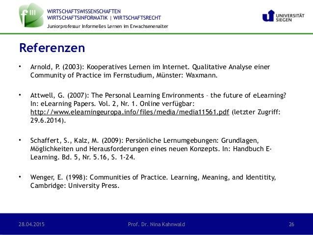 WIRTSCHAFTSWISSENSCHAFTEN WIRTSCHAFTSINFORMATIK | WIRTSCHAFTSRECHT Juniorprofessur Informelles Lernen im Erwachsenenalter ...