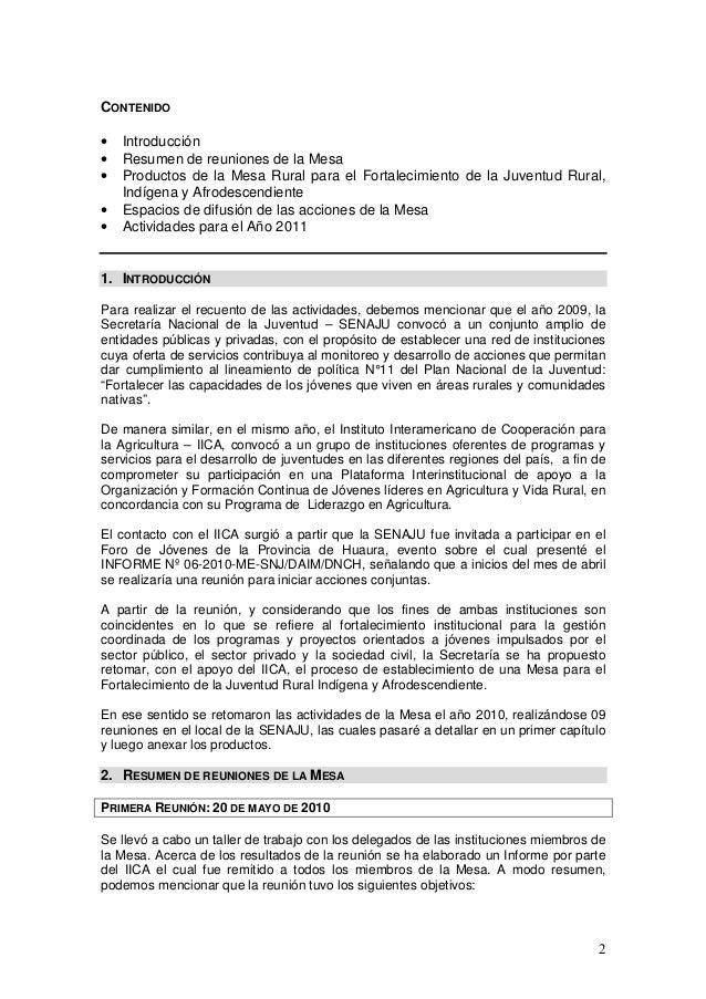informe mesa para el fortalecimiento de la juventud rural On establecer el proposito de la silla de mesa