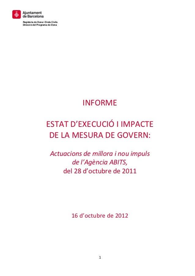 Regidoria de Dona i Drets CivilsDirecció del Programa de Dona                              INFORME          ...