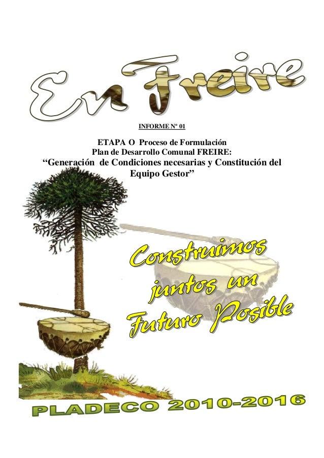 """INFORME Nº 01 ETAPA O Proceso de Formulación Plan de Desarrollo Comunal FREIRE: """"Generación de Condiciones necesarias y Co..."""