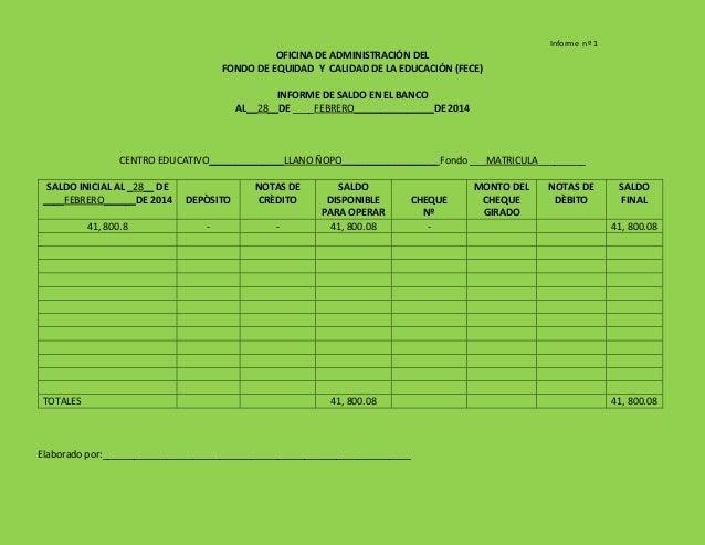 Informe nº 1 OFICINA DE ADMINISTRACIÓN DEL FONDO DE EQUIDAD Y CALIDAD DE LA EDUCACIÓN (FECE) INFORME DE SALDO EN EL BANCO ...