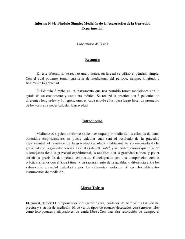 Informe n°4 péndulo simple (Laboratorio de Física)