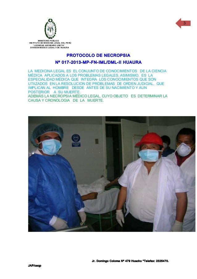 "3  MINISTERIO PÚBLICO INSTITUTO DE MEDICINA LEGAL DEL PERÚ ""LEONIDAS AVENDAÑO URETA"" DIVISION MEDICO LEGAL II DE HUAURA  P..."