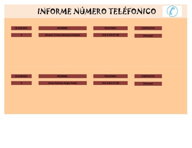 INFORME NÚMERO TELÉFONICOId CODIGO:              NOMBRE:                 TELEFONO:       CONTACTO:    3         Alvarez Tr...