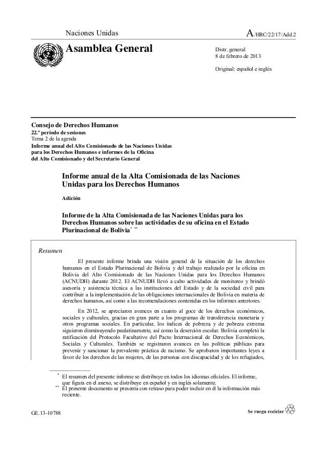 GE.13-10788 Consejo de Derechos Humanos 22.º período de sesiones Tema 2 de la agenda Informe anual del Alto Comisionado de...