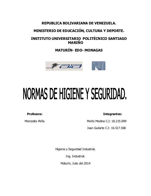 REPUBLICA BOLIVARIANA DE VENEZUELA. MINISTERIO DE EDUCACIÓN, CULTURA Y DEPORTE. INSTITUTO UNIVERSITARIO POLITÉCNICO SANTIA...