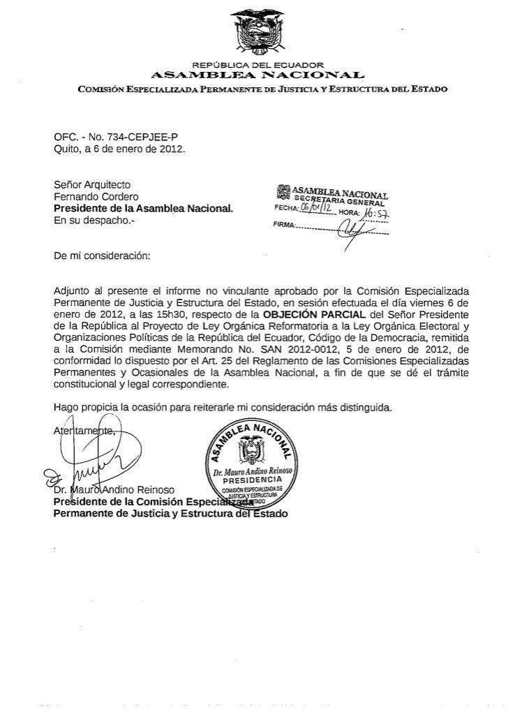 Informe, no vinculante,  sobre objeción parcial del Sr. Presidente, Código de la Democracia