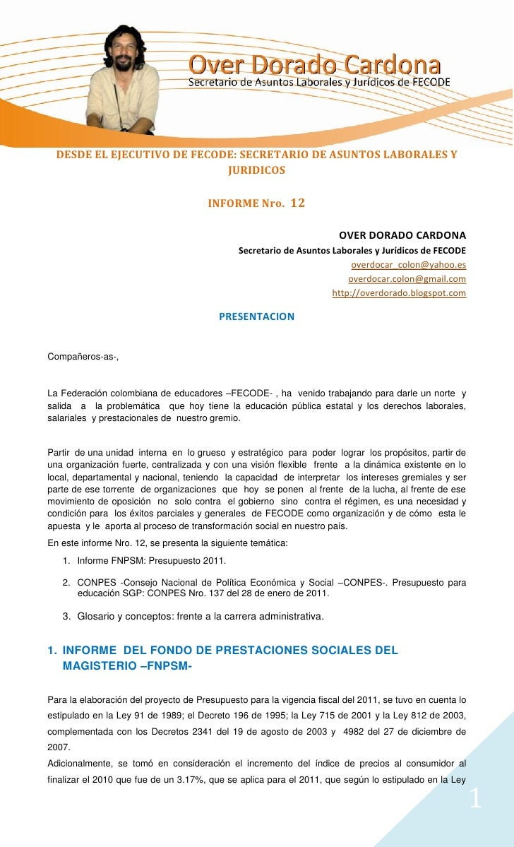 DESDE EL EJECUTIVO DE FECODE: SECRETARIO DE ASUNTOS LABORALES Y                             JURIDICOS                     ...