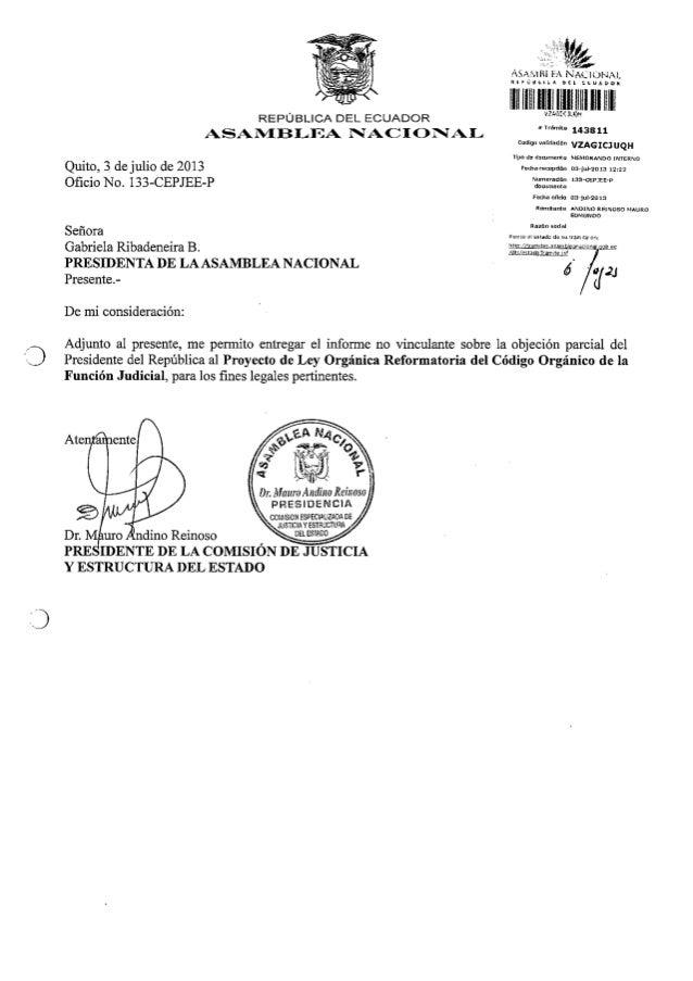 Proyecto de Ley Orgánica Reformatoria del Código orgánico de la Función Judicial.