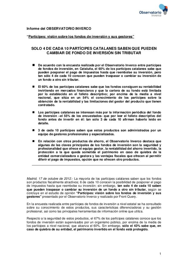 """Informe del OBSERVATORIO INVERCO""""Partícipes: visión sobre los fondos de inversión y sus gestores""""   SOLO 4 DE CADA 10 PART..."""