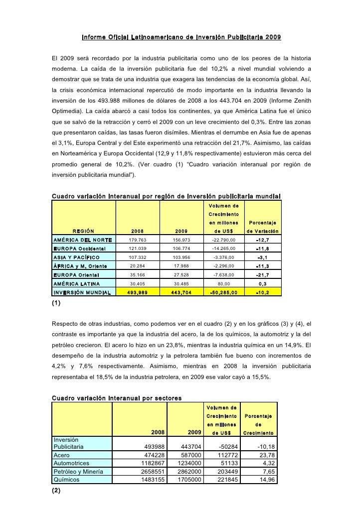 Informe Oficial Latinoamericano de Inversión Publicitaria 200 9   El 2009 será recordado por la industria publicitaria com...
