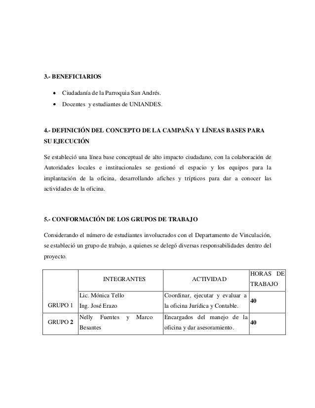 3.- BENEFICIARIOS Ciudadanía de la Parroquia San Andrés. Docentes y estudiantes de UNIANDES. 4.- DEFINICIÓN DEL CONCEPTO D...