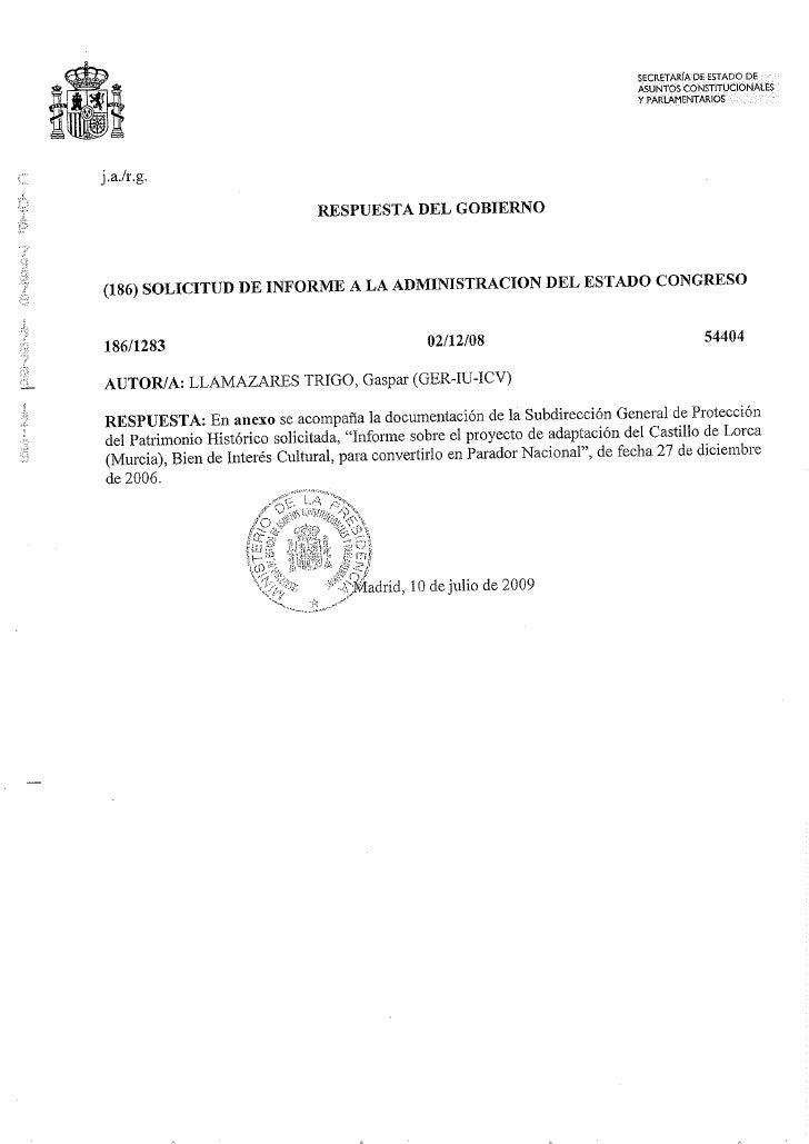 Informe sobre el parador de Lorca