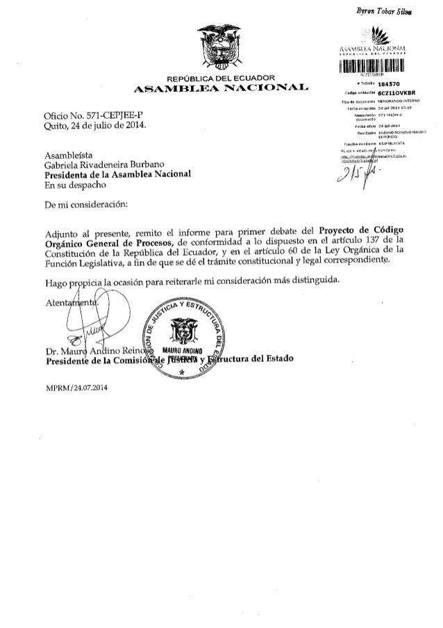 Byoti Tobat Silu REPUBLICA DEL ECUAOOR .,i'SAN,IE}I-EA N,|'CT C)NI.I, Oficio No. 571-CEPJEE-P Quito, 24 de julio de 2014 A...