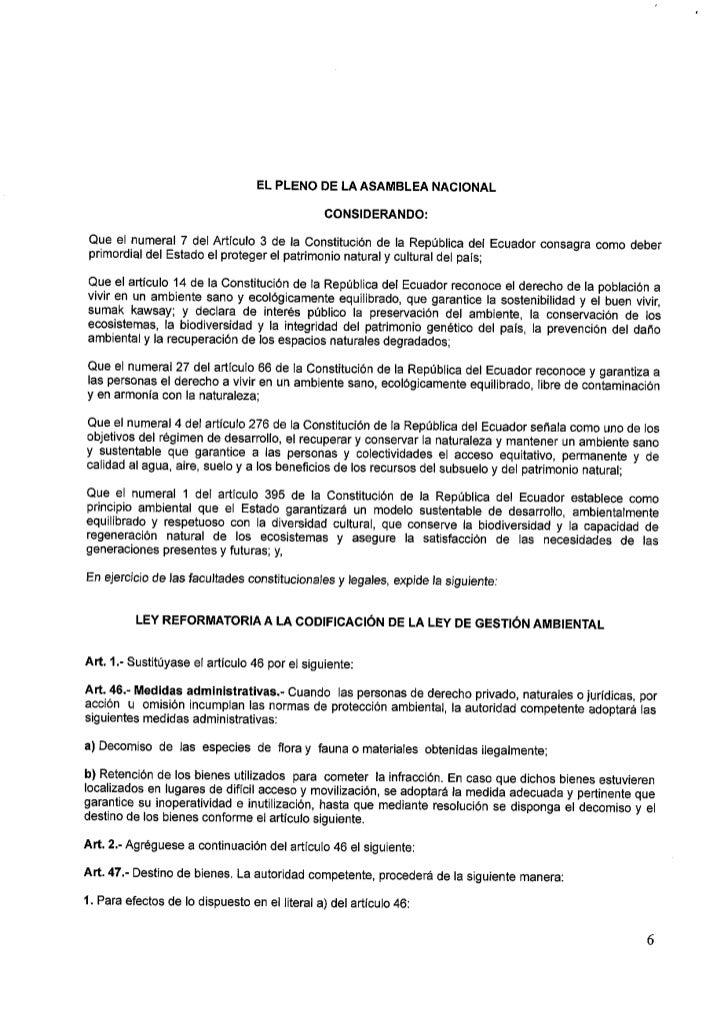 RÉPUBLICA DEL ECUADOR                     ASAIVIBI-. EA NIACI ONIAI-.1,iEn los casos que fuera posible estas especies será...