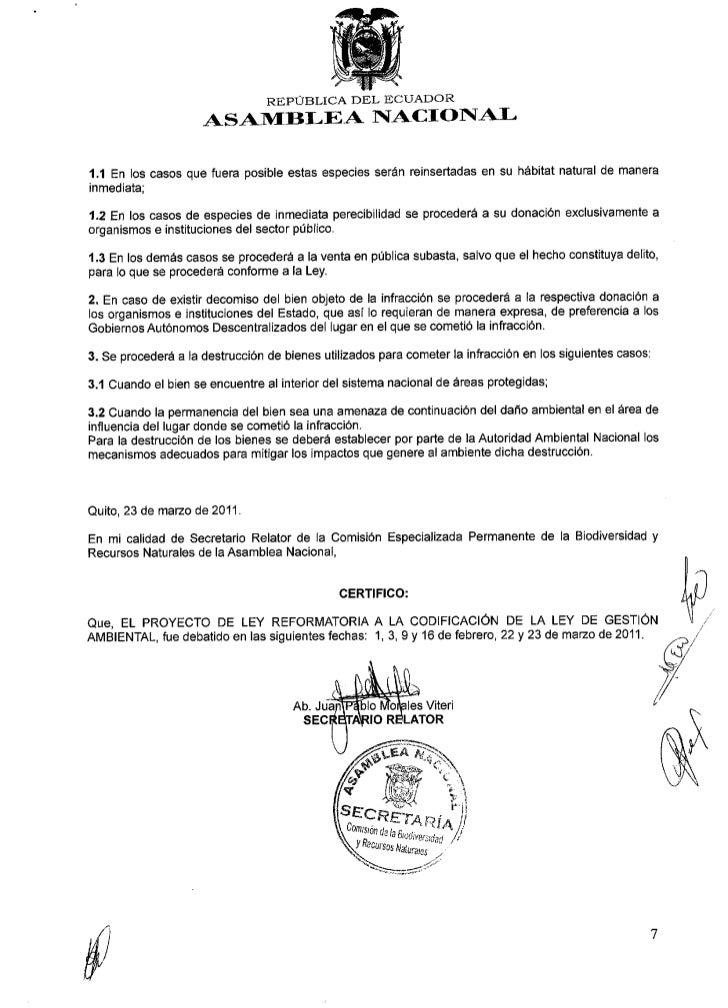 INFORME PARA PRIMER DEBATE PROYECTO LEY REFORMATORIA A LA CODIFICACION DE LA LEY DE GESTION AMBIENTAL