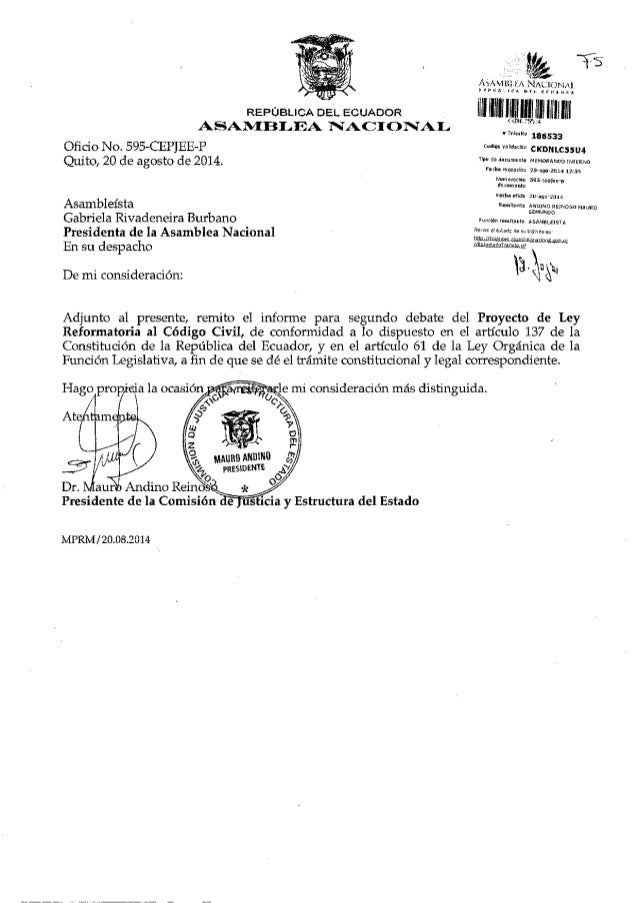 Asambleísta  Gabriela Rivadeneira Burbano     REPÚBLICA DELL ECUADOR _  NACIONAIJ  Oficio No.  595-CEPJEE-P Quito,  20 de ...