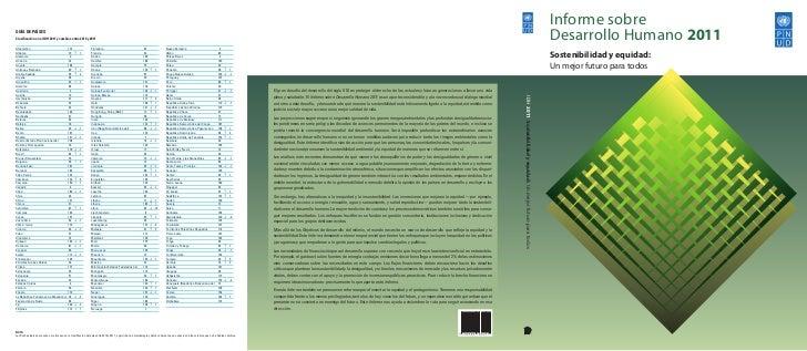 Informe sobreGUÍA DE PAÍSESClasificación en el IDH 2011 y cambios entre 2010 y 2011                                        ...