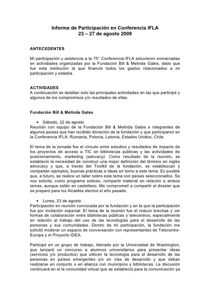 Informe de Participación en Conferencia IFLA                       23 – 27 de agosto 2009  ANTECEDENTES  Mi participación ...