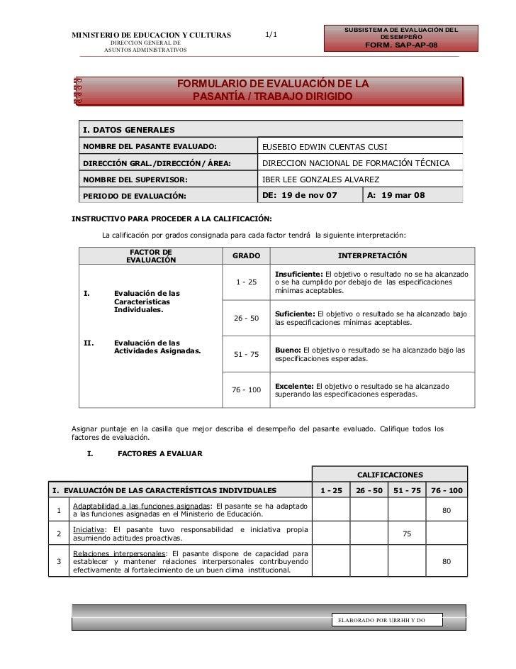 SUBSISTEMA DE EVALUACIÓN DEL    MINISTERIO DE EDUCACION Y CULTURAS                        1/1                             ...
