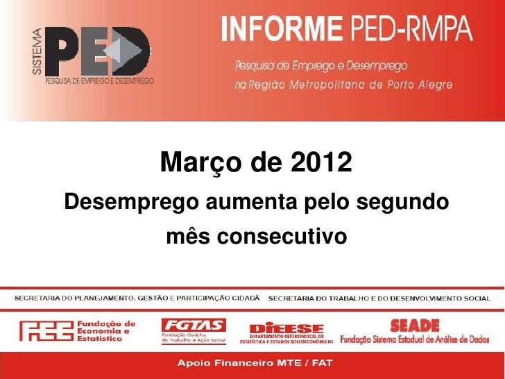 Março de 2012Desemprego aumenta pelo segundo        mês consecutivo