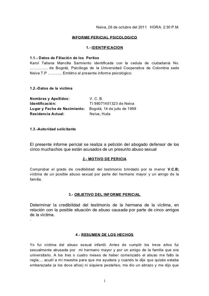 Neiva, 26 de octubre del 2011 HORA: 2:30 P.M.                       INFORME PERICIAL PSICOLOGICO                          ...