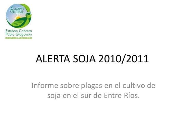 ALERTA SOJA 2010/2011<br />Informe sobre plagas en el cultivo de soja en el sur de Entre Ríos.<br />