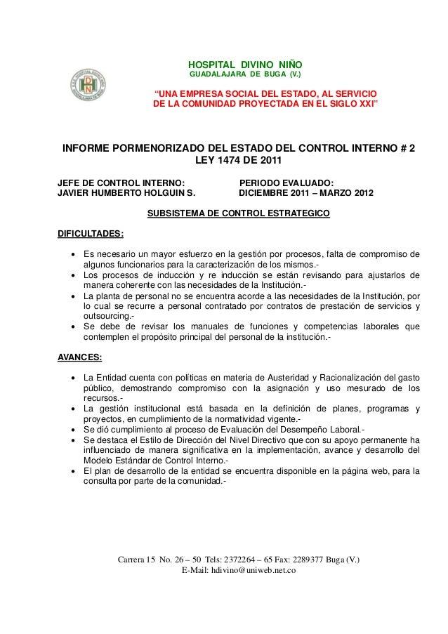 """HOSPITAL DIVINO NIÑO                                 GUADALAJARA DE BUGA (V.)                       """"UNA EMPRESA SOCIAL DE..."""