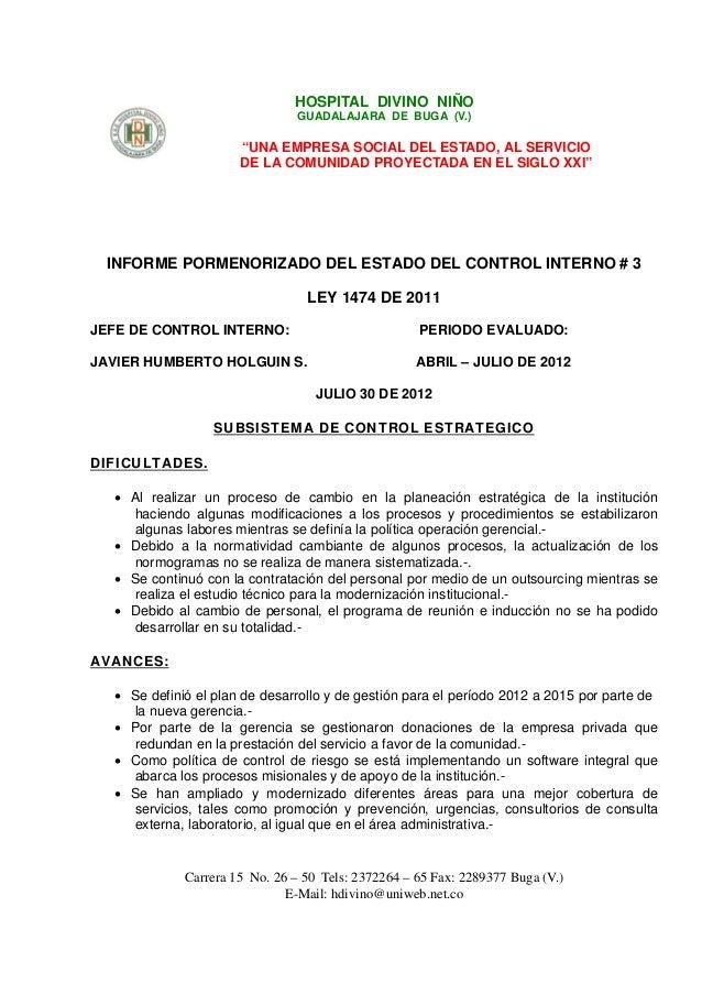 """HOSPITAL DIVINO NIÑO                                GUADALAJARA DE BUGA (V.)                      """"UNA EMPRESA SOCIAL DEL ..."""