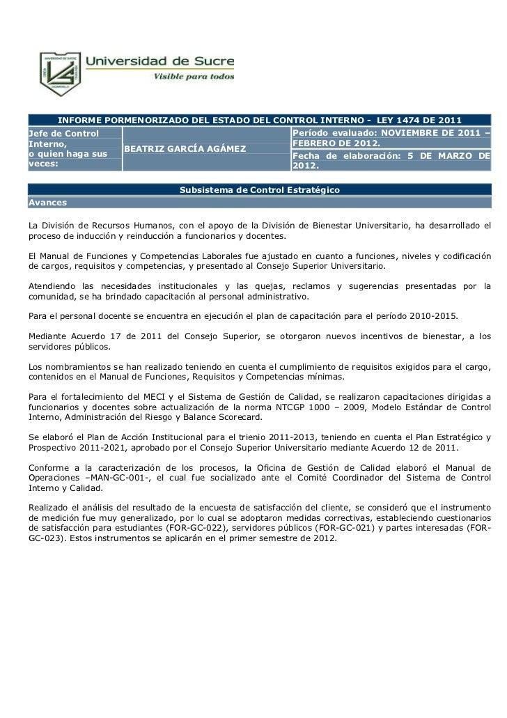 INFORME PORMENORIZADO DEL ESTADO DEL CONTROL INTERNO - LEY 1474 DE 2011Jefe de Control                                    ...