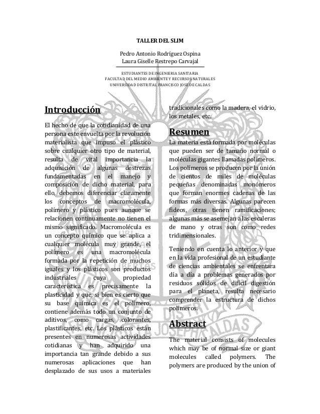 Informe practica #4 (articulo cientifico) Taller del Slim