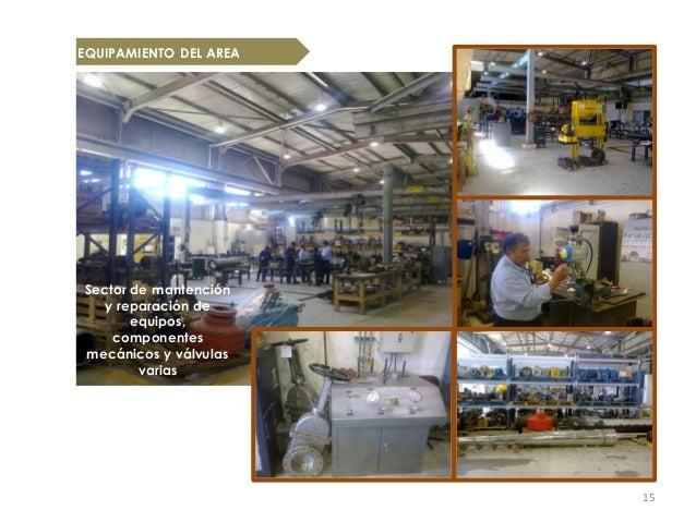EQUIPAMIENTO DEL AREASector de mantención   y reparación de       equipos,    componentesmecánicos y válvulas        varia...