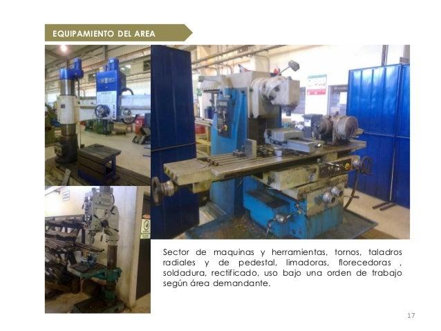 EQUIPAMIENTO DEL AREA                        Sector de maquinas y herramientas, tornos, taladros                        ra...
