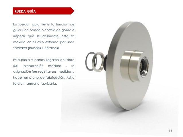 RUEDA GUÍALa rueda   guía tiene la función deguiar una banda o correa de goma eimpedir que se desmonte ,esta esmovida en e...
