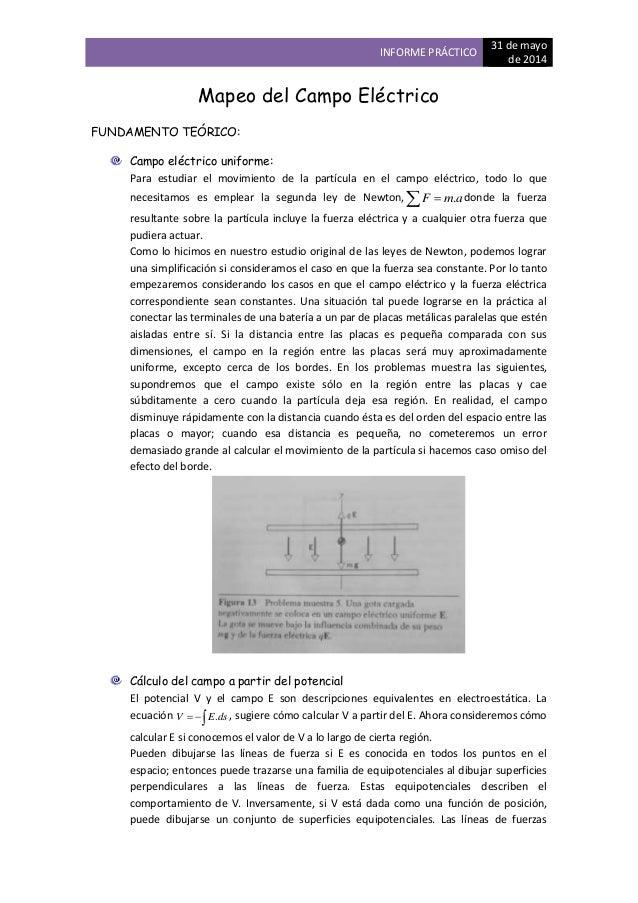 INFORME PRÁCTICO 31 de mayo de 2014 Mapeo del Campo Eléctrico FUNDAMENTO TEÓRICO: Campo eléctrico uniforme: Para estudiar ...