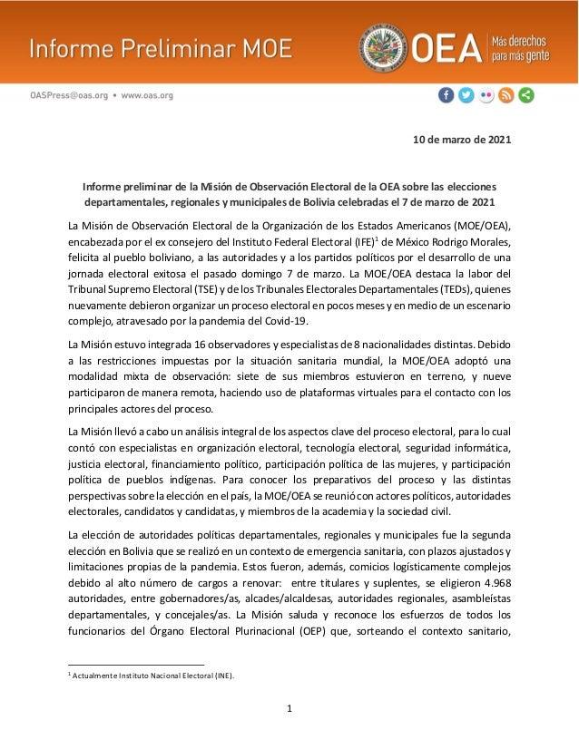 1 10 de marzo de 2021 Informe preliminar de la Misión de Observación Electoral de la OEA sobre las elecciones departamenta...
