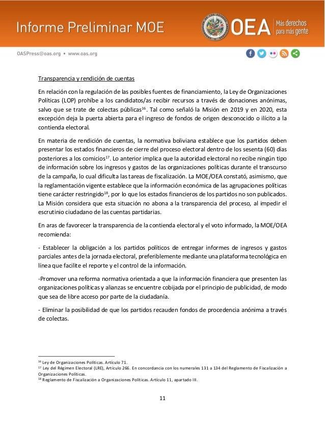 11 Transparencia y rendición de cuentas En relación con la regulación de las posibles fuentes de financiamiento, la Ley de...