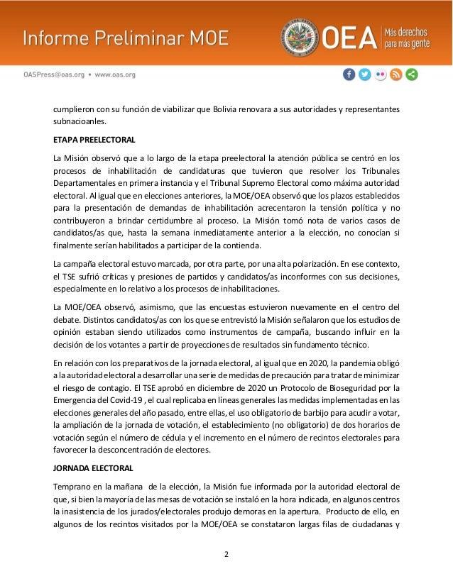 2 cumplieron con su función de viabilizar que Bolivia renovara a sus autoridades y representantes subnacioanles. ETAPA PRE...