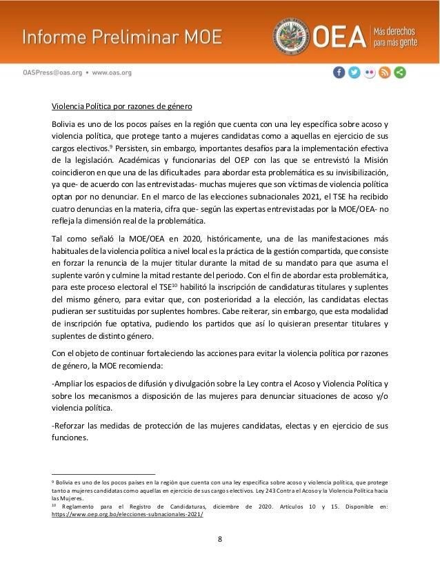8 Violencia Política por razones de género Bolivia es uno de los pocos países en la región que cuenta con una ley específi...